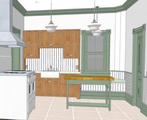 3D Rendered Model of Remodeled Kitchen