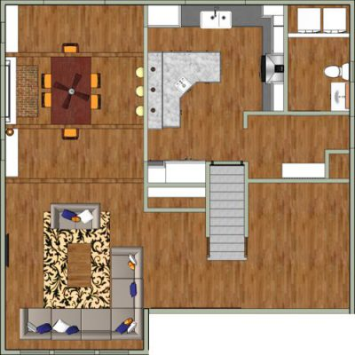 Feasibility study rendered floor plan