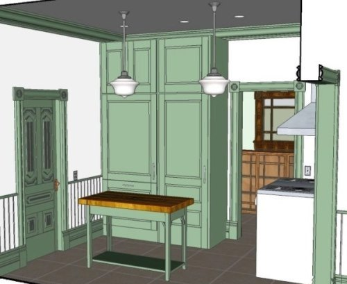 3D Rendered Model of Custom Kitchen Cabinetry